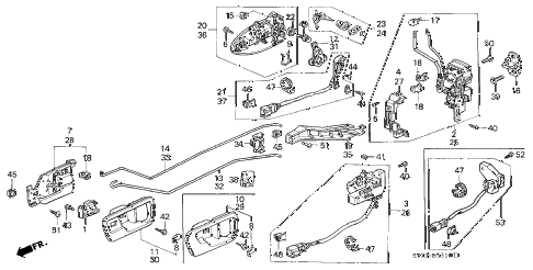 1999 INTEGRA LS 3 DOOR 4AT FRONT DOOR LOCKS diagram