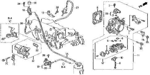 1998 INTEGRA RS 3 DOOR 4AT THROTTLE BODY (1) diagram