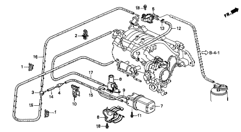 1996 INTEGRA GS-R 3 DOOR 5MT VACUUM TANK - TUBING (2) diagram
