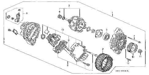 2000 INTEGRA TYPE-R 3 DOOR 5MT ALTERNATOR (MITSUBISHI) diagram