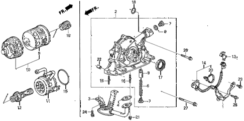 1996 INTEGRA LS 3 DOOR 4AT OIL PUMP - OIL STRAINER diagram