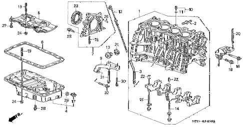 1995 INTEGRA LS 3 DOOR 5MT CYLINDER BLOCK - OIL PAN (1) diagram