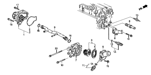 2001 INTEGRA TYPE-R 3 DOOR 5MT WATER PUMP - SENSOR (3) diagram