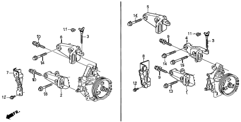 1996 INTEGRA RS 3 DOOR 5MT P.S. PUMP BRACKET diagram