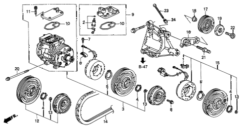 1997 INTEGRA TYPE-R 3 DOOR 5MT A/C COMPRESSOR (3) diagram