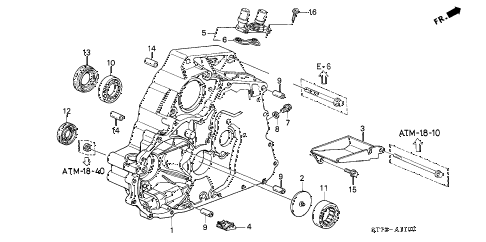 2001 INTEGRA LS 4 DOOR 4AT AT TORQUE CONVERTER HOUSING (2) diagram