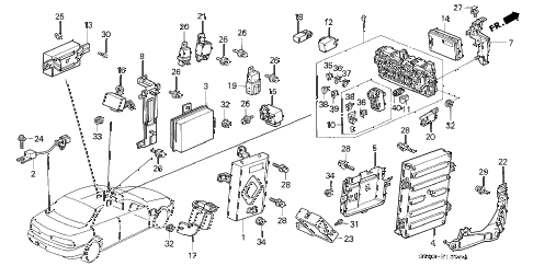 1996 INTEGRA GS-R 4 DOOR 5MT CONTROL UNIT (CABIN) diagram