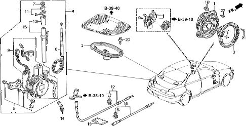 1996 INTEGRA LS 4 DOOR 5MT RADIO ANTENNA - SPEAKER (1) diagram
