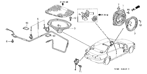 1998 INTEGRA LS 4 DOOR 4AT RADIO ANTENNA - SPEAKER (2) diagram