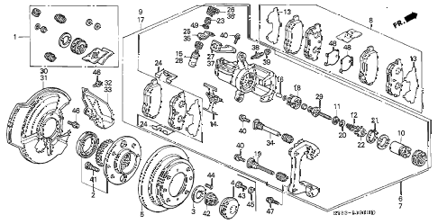 1995 INTEGRA RS 4 DOOR 4AT REAR BRAKE (DISK) diagram