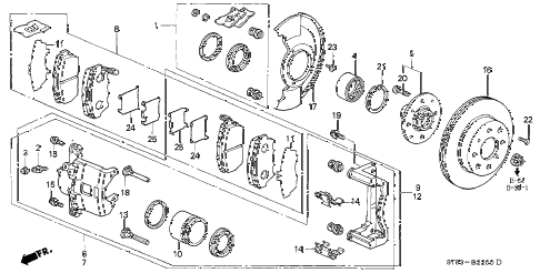 1994 INTEGRA RS 4 DOOR 4AT FRONT BRAKE diagram