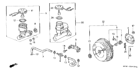 1995 INTEGRA GS-R 4 DOOR 5MT BRAKE MASTER CYLINDER  - MASTER POWER diagram
