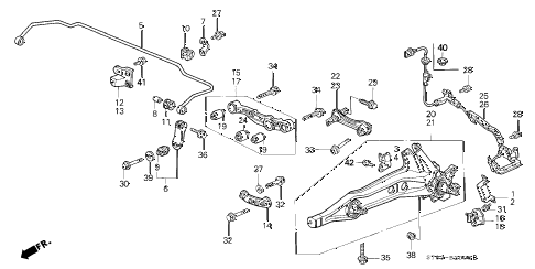 1999 INTEGRA LS 4 DOOR 5MT REAR LOWER ARM diagram