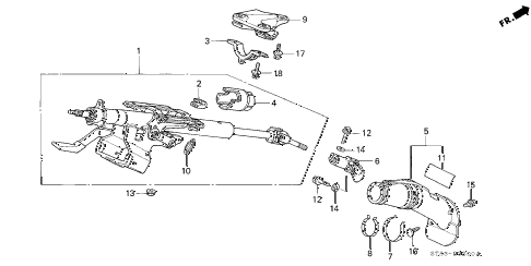 2001 INTEGRA LS 4 DOOR 4AT STEERING COLUMN diagram