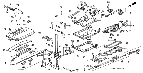 1996 INTEGRA RS 4 DOOR 4AT SELECT LEVER diagram