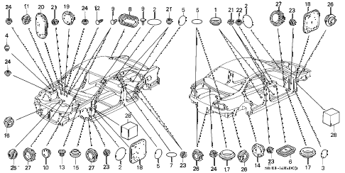 1995 INTEGRA LS 4 DOOR 5MT GROMMET diagram