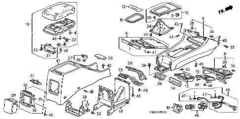1996 INTEGRA GS-R 4 DOOR 5MT CONSOLE diagram