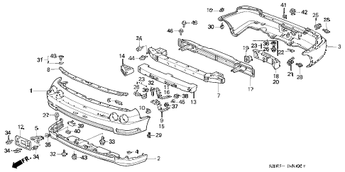 1996 INTEGRA RS 4 DOOR 5MT BUMPER (1) diagram