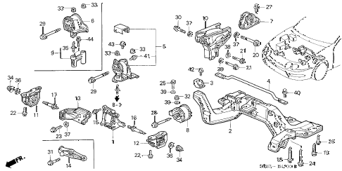 1995 INTEGRA GS-R 4 DOOR 5MT ENGINE MOUNT diagram