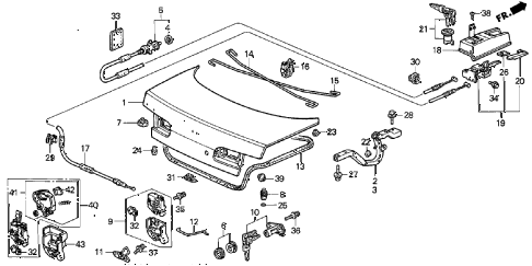 2000 INTEGRA LS 4 DOOR 5MT TRUNK LID diagram