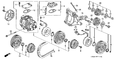2001 INTEGRA LS 4 DOOR 4AT A/C COMPRESSOR (DENSO) (1) diagram