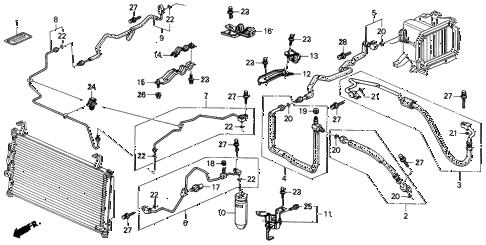 1999 INTEGRA LS 4 DOOR 4AT A/C HOSES - PIPES (1) diagram