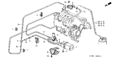 1996 INTEGRA GS-R 4 DOOR 5MT VACUUM TANK - TUBING (2) diagram