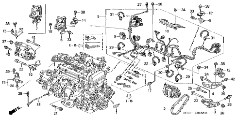 1996 INTEGRA LS 4 DOOR 4AT ENGINE WIRE HARNESS - CLAMP (1) diagram