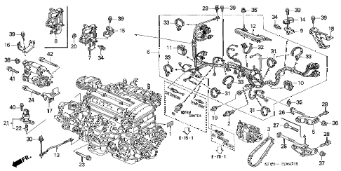 1996 INTEGRA GS-R 4 DOOR 5MT ENGINE WIRE HARNESS - CLAMP (2) diagram