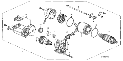 1999 INTEGRA LS 4 DOOR 5MT STARTER MOTOR (DENSO) diagram