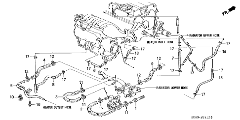 1997 INTEGRA GS-R 4 DOOR 5MT WATER HOSE (3) diagram