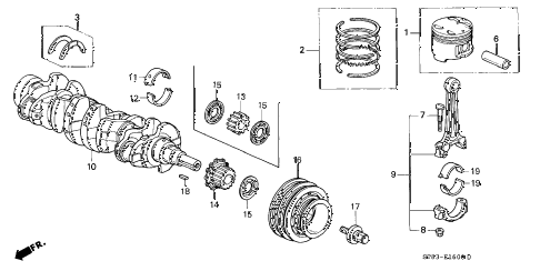 1996 INTEGRA RS 4 DOOR 4AT CRANKSHAFT - PISTON diagram