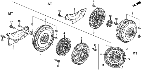 1996 INTEGRA RS 4 DOOR 4AT CLUTCH - TORQUE CONVERTER diagram