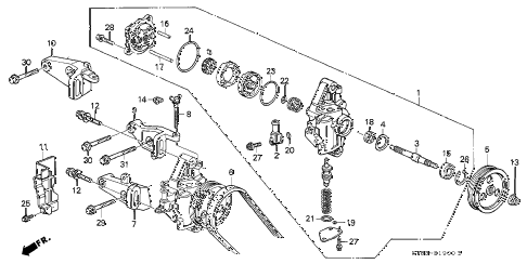 1995 INTEGRA LS 4 DOOR 4AT P.S. PUMP - BRACKET (1) diagram