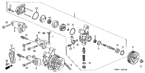 1999 INTEGRA LS 4 DOOR 5MT P.S. PUMP - BRACKET (2) diagram