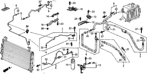 1996 INTEGRA RS 4 DOOR 4AT A/C HOSES - PIPES (2) diagram
