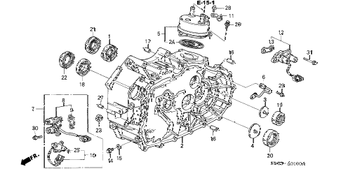 2002 NSX-T 2 DOOR 4AT AT TORQUE CONVERTER HOUSING diagram