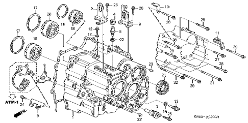 2001 NSX-T 2 DOOR 4AT AT TRANSMISSION HOUSING diagram