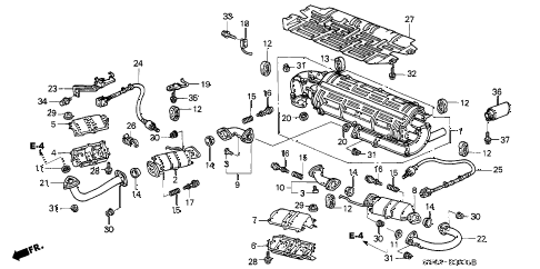 2002 NSX-T 2 DOOR 4AT EXHAUST PIPE (2) diagram