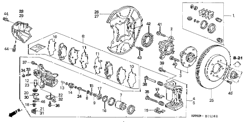 2001 NSX-T 2 DOOR 6MT REAR BRAKE diagram