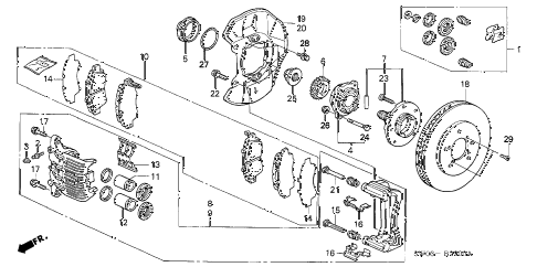 2002 NSX-T 2 DOOR 4AT FRONT BRAKE diagram