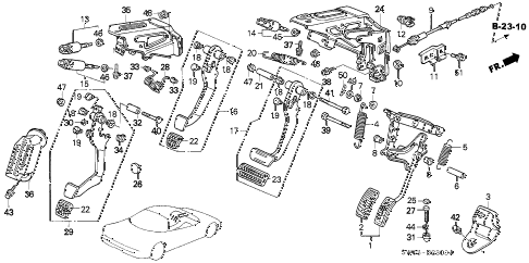 2002 NSX-T 2 DOOR 4AT PEDAL diagram