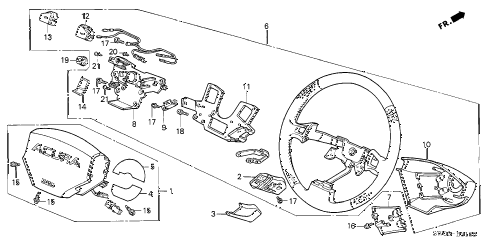 2002 NSX-T 2 DOOR 6MT STEERING WHEEL diagram