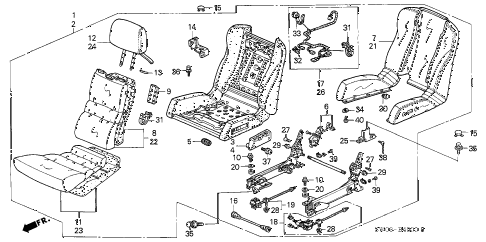 2001 NSX 2 DOOR 6MT SEAT diagram