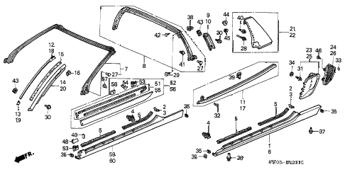 2002 NSX-T 2 DOOR 6MT MOLDING (2) diagram