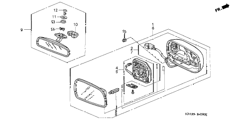 2001 NSX-T 2 DOOR 4AT MIRRORS diagram