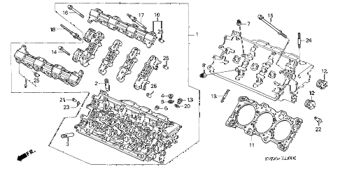 2001 NSX 2 DOOR 4AT CYLINDER HEAD (FR.) diagram