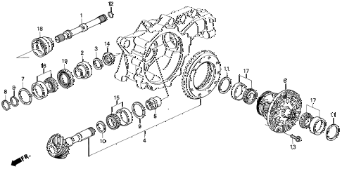 1995 TL PRE2.5 4 DOOR 4AT AT DIFFERENTIAL GEAR diagram