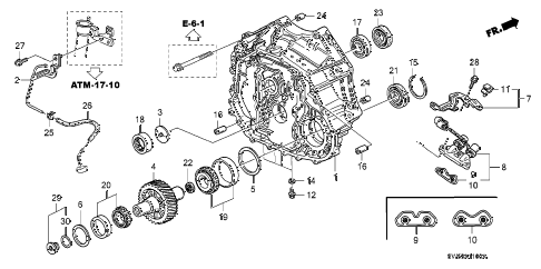 1997 TL BAS3.2 4 DOOR 4AT TORQUE CONVERTER HOUSING (V6) diagram
