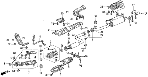1996 TL BAS2.5 4 DOOR 4AT EXHAUST PIPE diagram